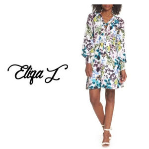 65ce2229931 Eliza J Plus Sz 18 Blue White Floral V Neck Dress